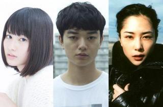 「寄生獣」俳優陣 左から橋本愛・染谷将太・深津絵里